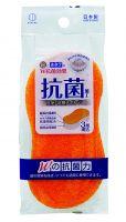 KOKUBO Губка для ванной с двойным антибактериальным эффектом (серебро и устрица), 205*85*45 мм (А)