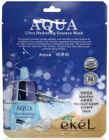 EKEL ULTRA HYDRATING ESSENCE MASK AQUA  Ультраувлажняющая тканевая маска для лица с Гидролизованным Коллагеном, для всех типов кожи 25г.